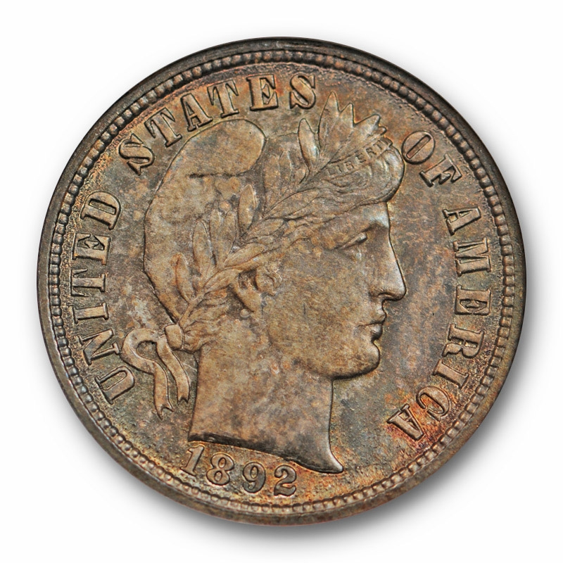 Better Coin 1892 Barber Silver Dime 10c ANACS MS-62 Toned Rim