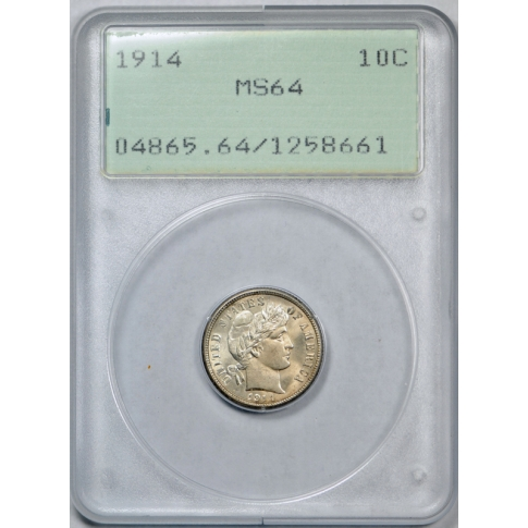 1914 10C Barber Dime PCGS MS 64 Uncirculated Old Rattler Holder Nice !