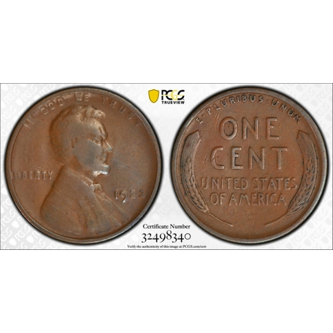 1922 No D 1C Strong Reverse Lincoln Wheat Cent PCGS VF 20 Very Fine CAC Approved