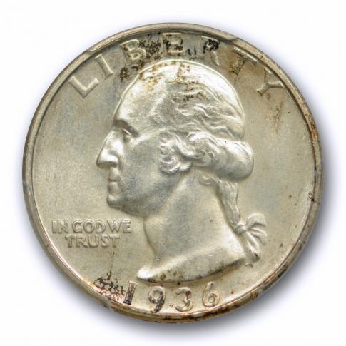 1936 D 25C Washington Quarter PCGS MS 64 Uncirculated Denver Mint Tough !