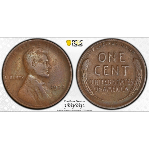 1922 No D 1C Strong Reverse Lincoln Wheat Cent PCGS VF 25 Very Fine to XF