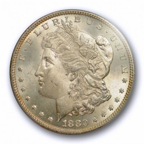 1880 $1 Morgan Dollar PCGS MS 65 Uncirculated Better Date Mint State Lightly Toned