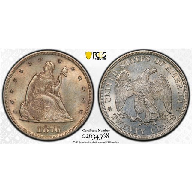 1876 20C Twenty Cent PCGS MS 64 Uncirculated Better Date Tough Coin !