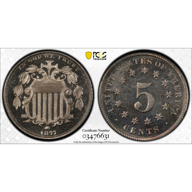 1877 5C Shield Nickel PCGS PR 64 CAM Proof Cameo Key Date Tough Coin !