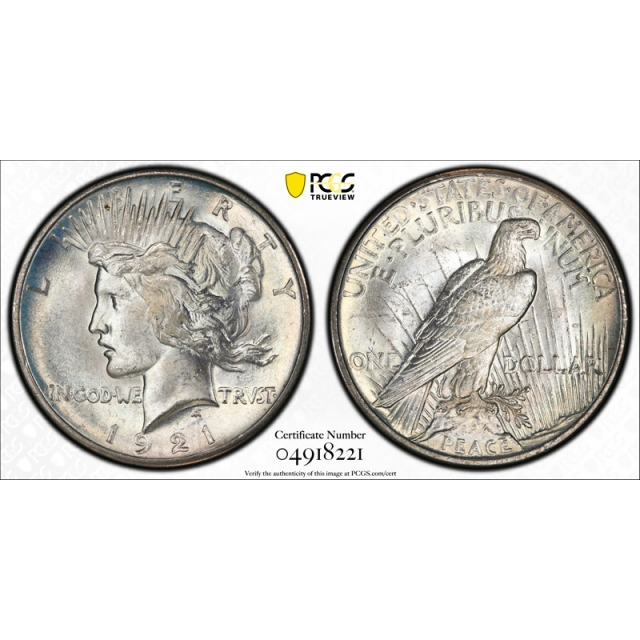 1921 $1 Peace Dollar PCGS MS 64 Uncirculated High Relief Key Date Cert#8221
