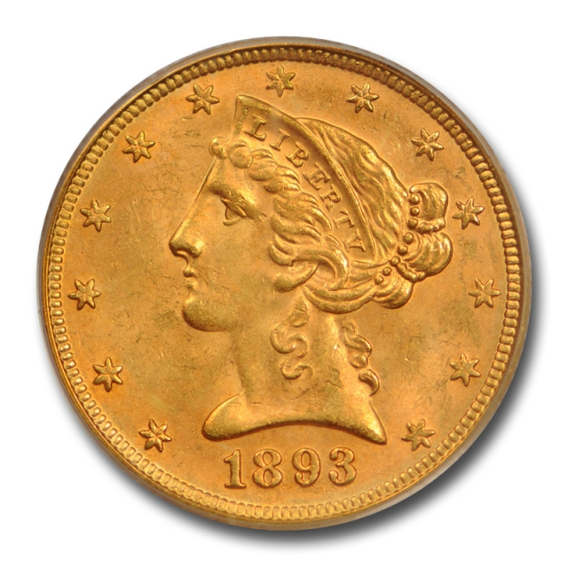 1893 $5 Liberty Head Half Eagle PCGS MS 64 Uncirculated Gold Piece Nice !
