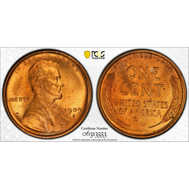 1909 S/S 1C Lincoln Wheat Cent PCGS MS 66 RD Full Red  S/Horizontal S Nice !