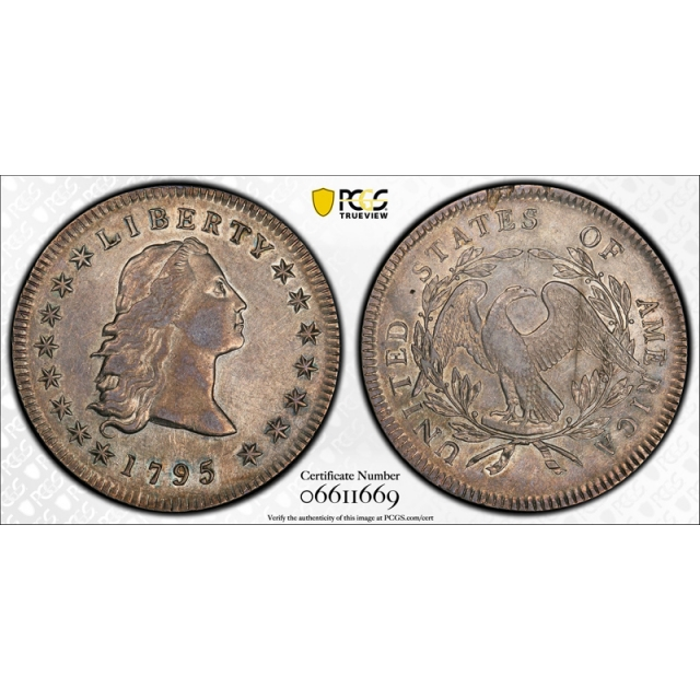 1795 $1 3 Leaves Flowing Hair Dollar PCGS AU 50 About Uncirculated BB-27 Tough !