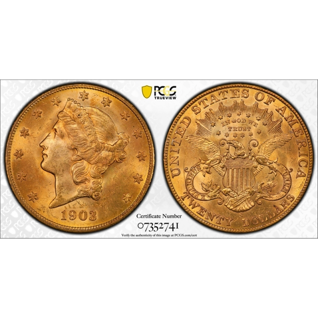 1903 S $20 Liberty Head Double Eagle Gold Piece PCGS MS 64 Uncirculated Flashy !