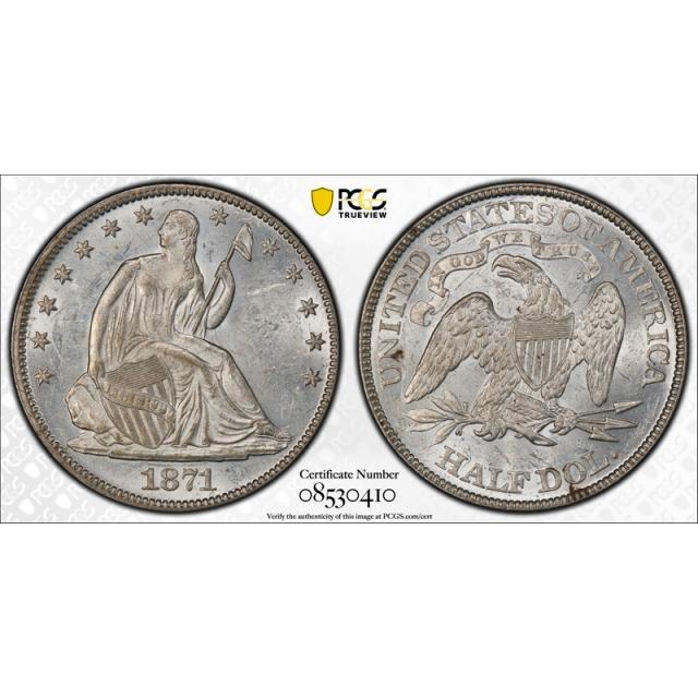 1871 50C Seated Liberty Half Dollar PCGS MS 61 Uncirculated Blast White Lustrous !