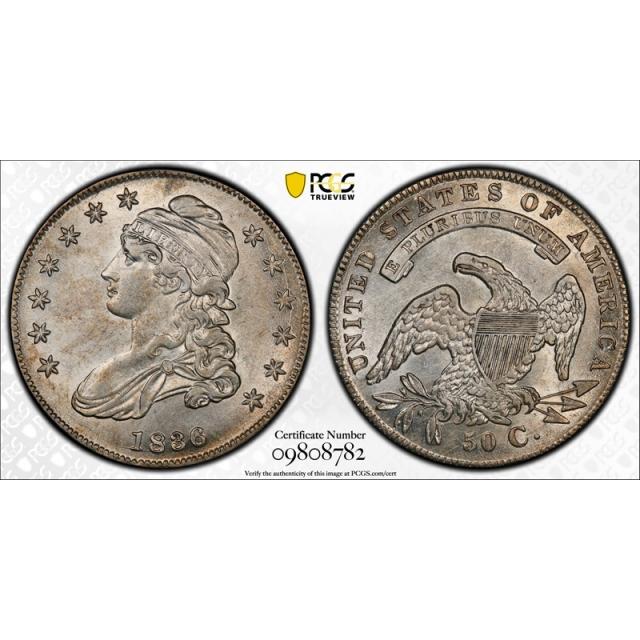 1836/1336 50C Capped Bust Half Dollar PCGS AU 55 Lettered Edge Overton 108 A C