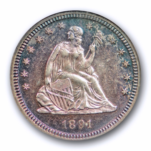 1891 25C Proof Seated Liberty Quarter ANACS PF 62 PR Purple & Blue Toned !