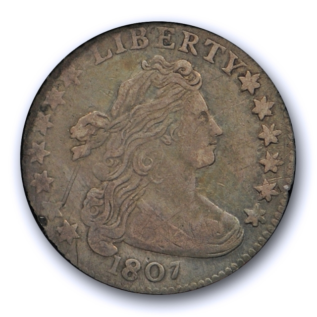 1807 10C Draped Bust Dime ICG VF 30 Very Fine to Extra Fine Tough Coin !