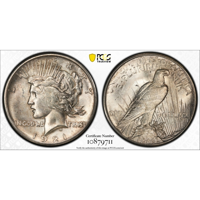 1921 $1 Peace Dollar PCGS MS 64 Uncirculated High Relief Key Date Cert#9711
