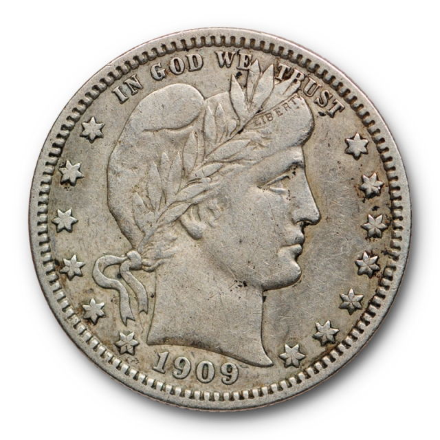 1909 O 25C Barber Quarter Very Fine to Extra Fine New Orleans Mint Tough !