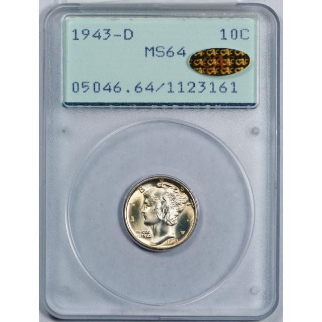 1943 D 10C Mercury Dime PCGS MS 64 Rattler CAC Gold Sticker Toned