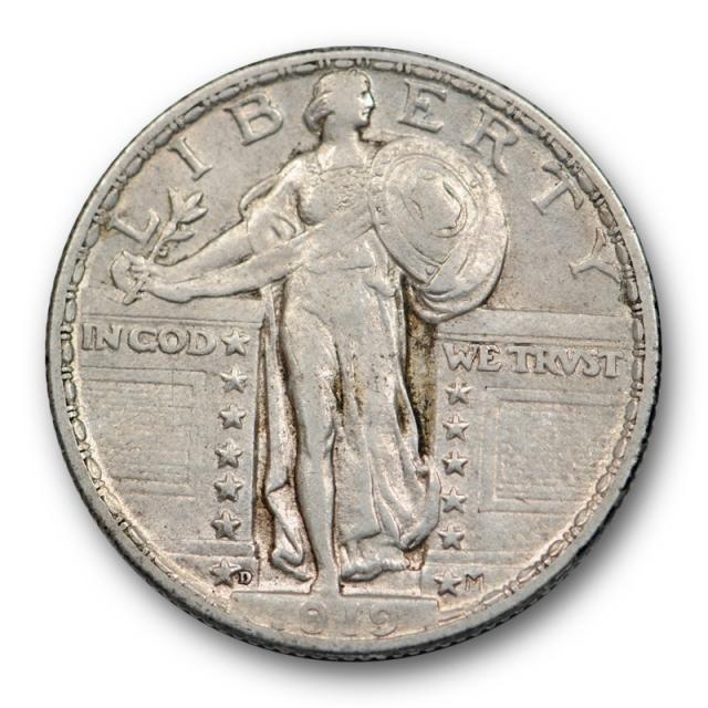 1919 D 25C Standing Liberty Quarter About Uncirculated AU Key Date Denver Mint