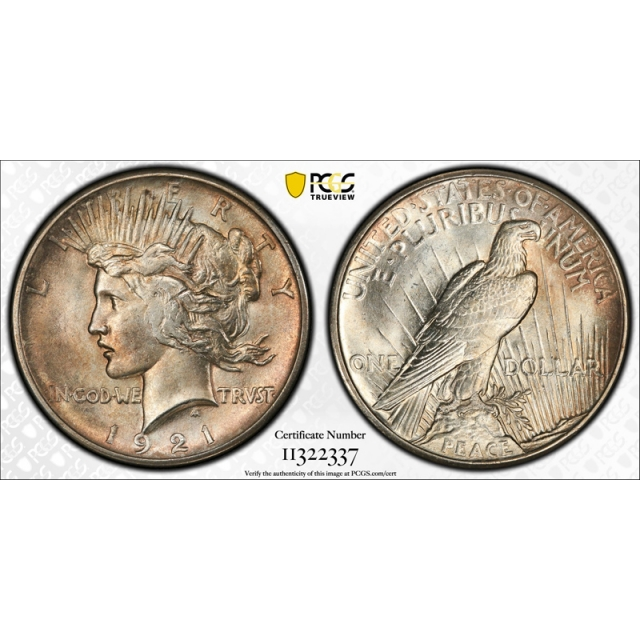 1921 $1 Peace Dollar High Relief PCGS MS 64 Uncirculated Key Date Cert#2337