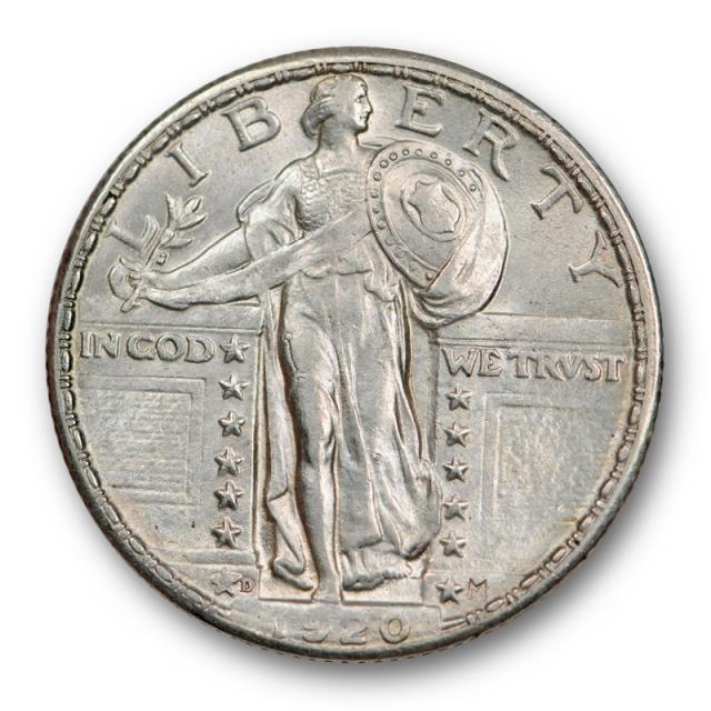 1920 D 25C Standing Liberty Quarter About Uncirculated AU Full Head FH Tough