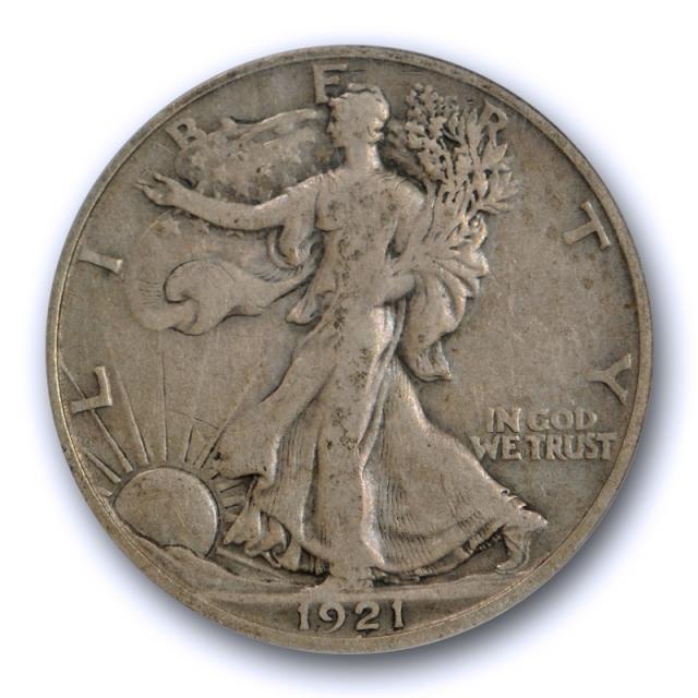 1921 D 50C Walking Liberty Half Dollar PCGS F 12 Fine Denver Mint Key Date Strong !