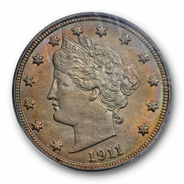 1911 5C Liberty Nickel PCGS MS 64 Uncirculated Colorful Toned Beauty