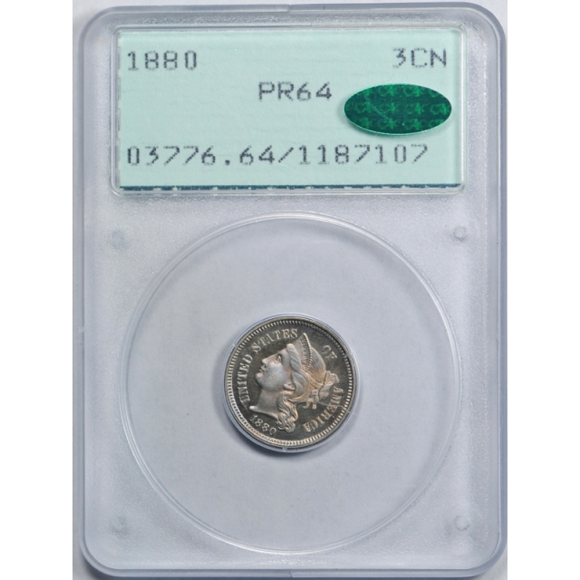 1880 3CN Three Cent Nickel PCGS PR 64 Proof CAC Approved Toned Rattler Holder !