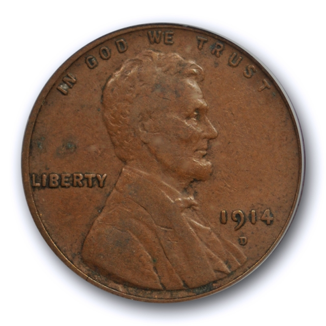 1914 D 1C Lincoln Wheat Cent PCGS VF 20 Very Fine Denver Mint Key Date Strong !