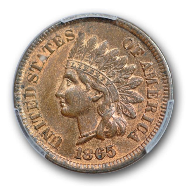 1865 1C Plain 5 Indian Head Cent PCGS MS 63 RB FS 303 Snow 3 S 3 Rare Variety !