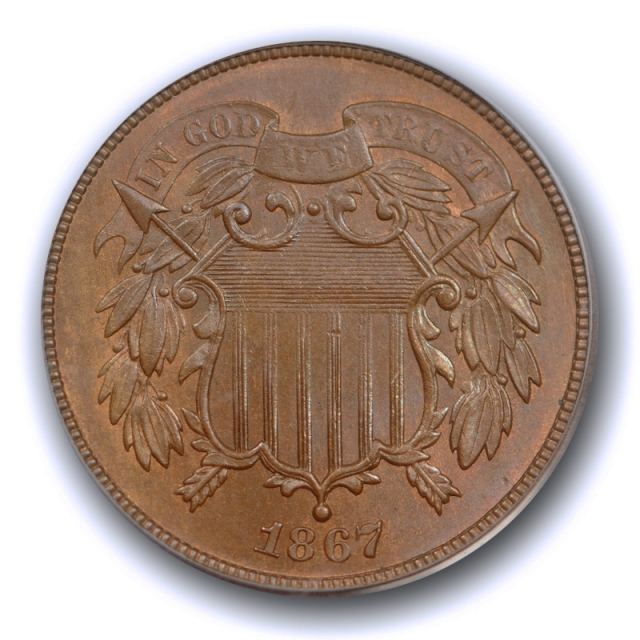 1867 2C Two Cent Piece PCGS MS 64 RB Uncirculated Red Brown Attractive Coin