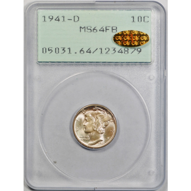 1941 D 10C Mercury Dime PCGS MS 64 FB Uncirculated Gold CAC Sticker Rattler