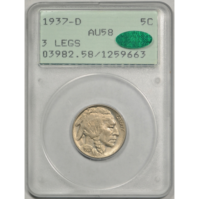 1937 D 5C Three Legged Buffalo Head Nickel 3 Legs PCGS AU 58 CAC Rattler !