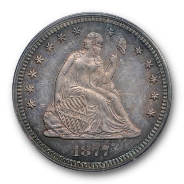 1877 25C Proof Seated Liberty Quarter PCGS PR 63 Purple Toned Pretty !