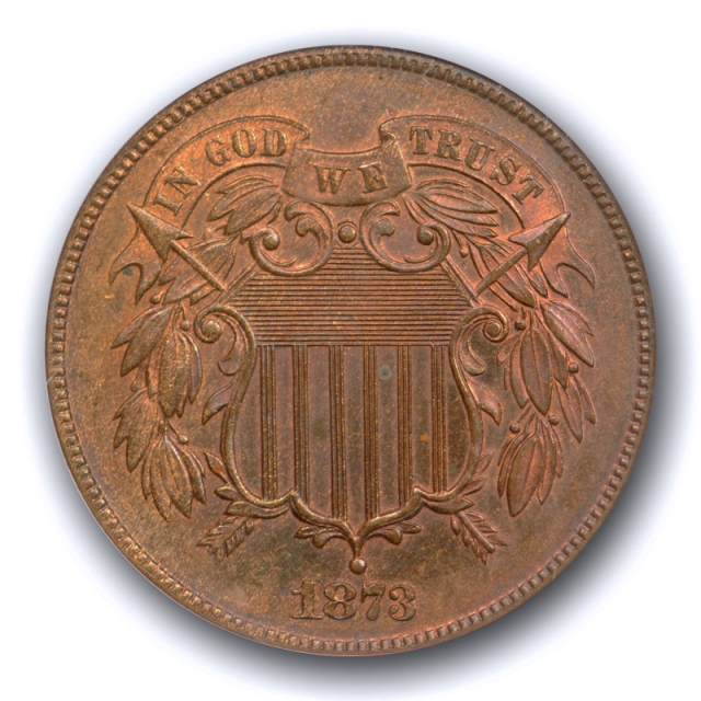1873 2C Closed 3 Two Cent Piece NGC PF 65 RB Proof Red Brown CAC Approved Old Fatty Holder