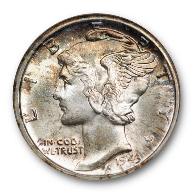 1943 D Mercury Dime NGC MS 65 FB Uncirculated Full Bands Old Fatty Gold CAC Sticker