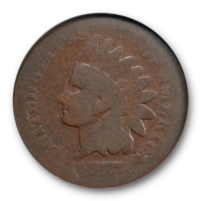 1877 1C Indian Head Cent ANACS AG 3 About Good Key Date Original Old Holder Cert#0351