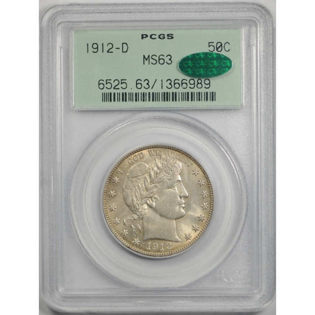 1912 D 50C Barber Half Dollar PCGS MS 63 Uncirculated OGH CAC Approved Cert#6989