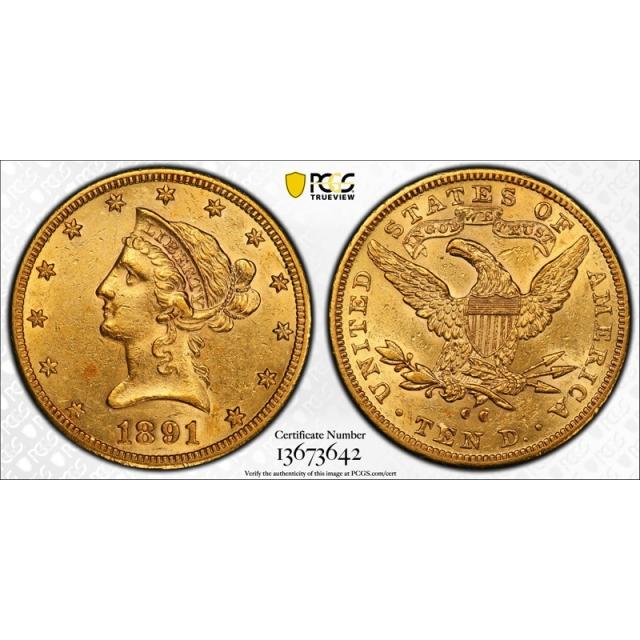 1891 CC $10 Liberty Head Eagle Gold Piece PCGS AU 53 Carson City Mint Gold !
