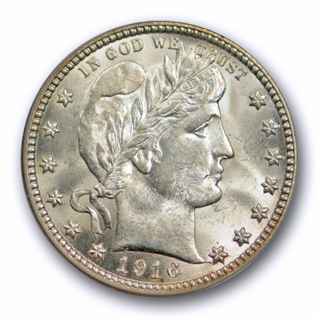 1916 D 25C Barber Quarter PCGS MS 64 Uncirculated Blast White Stunning Coin !