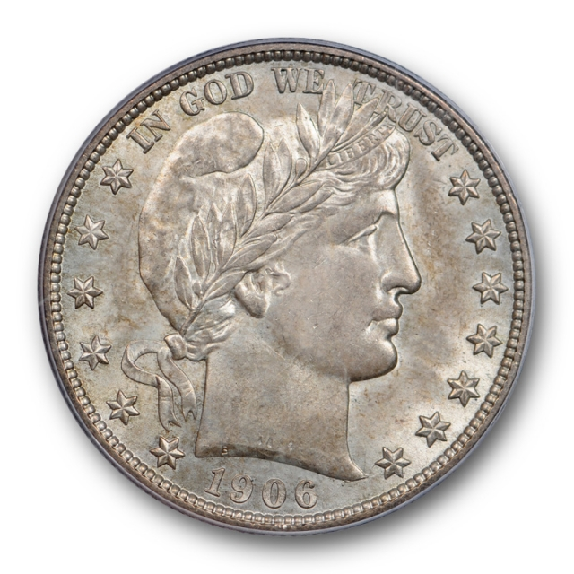 1906 S 50C Barber Half Dollar PCGS MS 64 Uncirculated CAC Approved Beautiful !