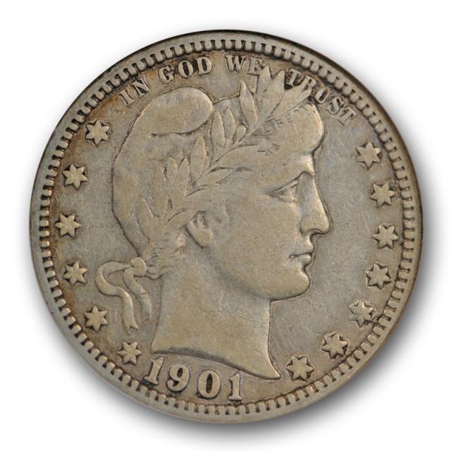 1901 O 25C Barber Quarter ANACS F 12 Fine New Orleans Mint Better Date Old Holder