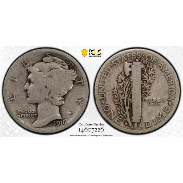 1916 D 10C Mercury Dime PCGS VG 8 Very Good Denver Mint Key Date CAC Approved ! Cert#7226