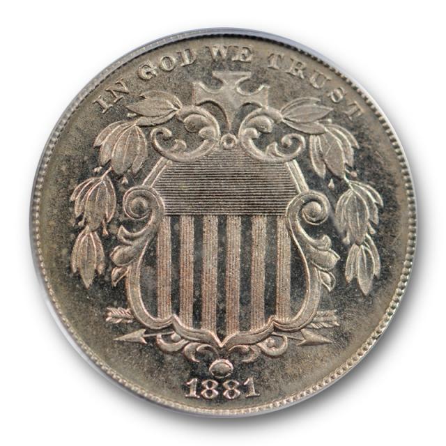 1881 5C Shield Nickel PCGS PR 64 CAM Proof Cameo Key Date Low Mintage !