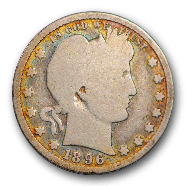 1896 S 25C Barber Quarter Good G Key Date Colorful Toned Rims Attractive !