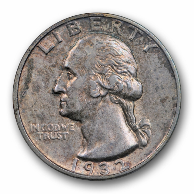 1932 S 25C Washington Quarter ANACS AU 53 About Uncirculated Key Date Toned