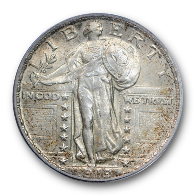 1919 25C Standing Liberty Quarter PCGS MS 61 Uncirculated Partial Head Toned