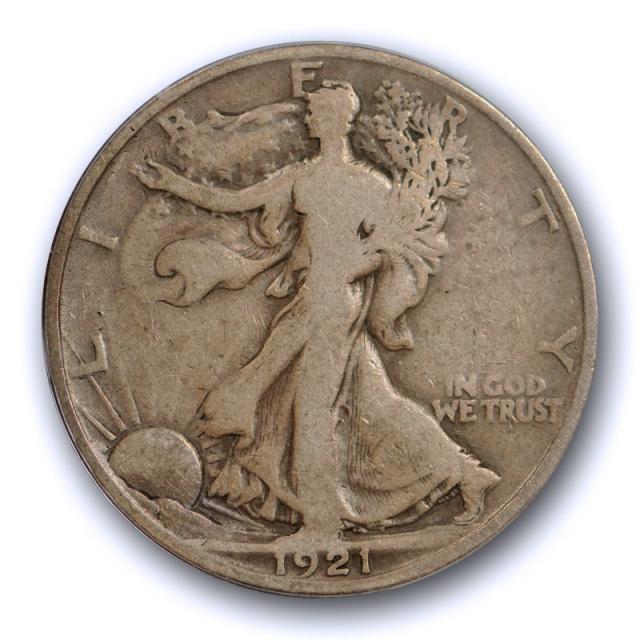 1921 D 50C Walking Liberty Half Dollar ANACS VG 8 Very Good Denver Mint Key Date Nice !