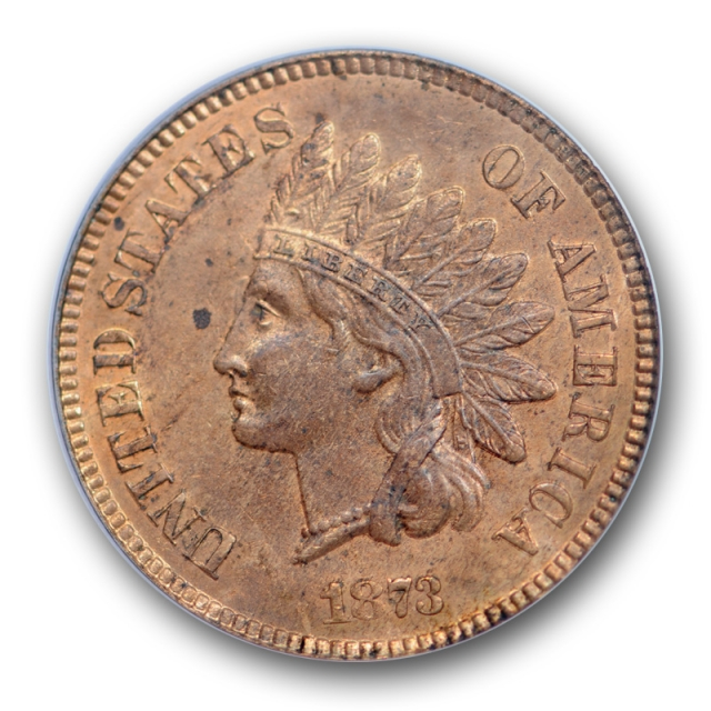 1873 1C Open 3 Indian Head Cent PCGS MS 63 RB Uncirculated Red Brown Cert#8610