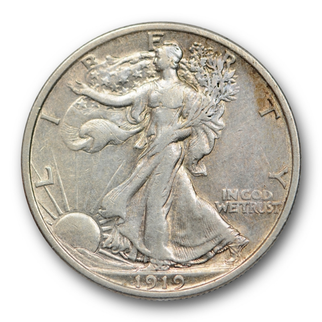 1919 50C Walking Liberty Half Dollar About Uncirculated AU Better Date Tough Coin
