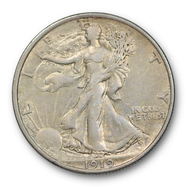 1919 50C Walking Liberty Half Dollar AU About Uncirculated Better Date Tough Grade !