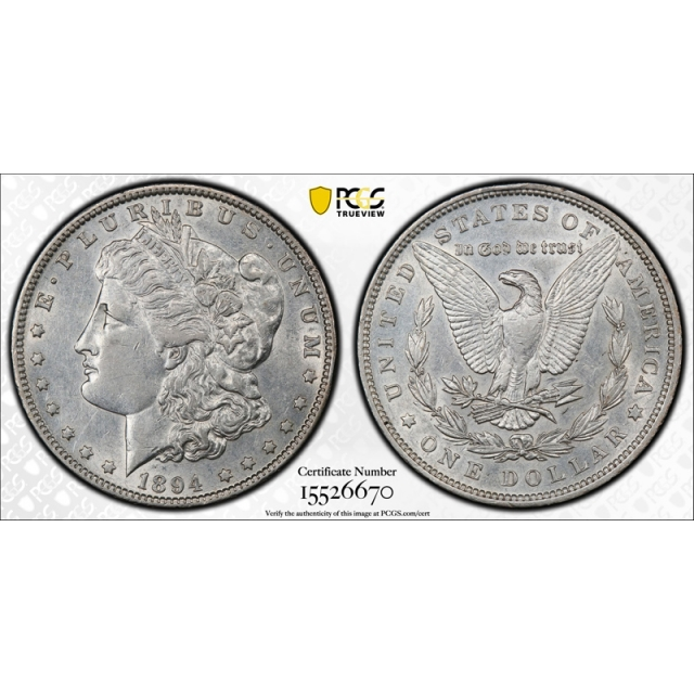 1894 $1 Morgan Dollar PCGS AU 53 About Uncirculated to Mint State Key Date Tough !